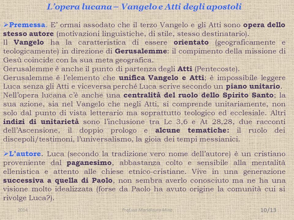 L'opera lucana – Vangelo e Atti degli apostoli