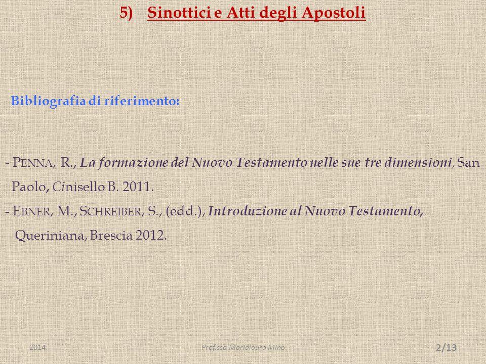 Sinottici e Atti degli Apostoli