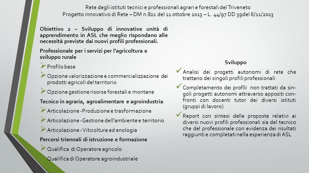 Rete degli istituti tecnici e professionali agrari e forestali del Triveneto Progetto innovativo di Rete – DM n.821 del 11 ottobre 2013 – L. 44/97 DD 39del 6/11/2013