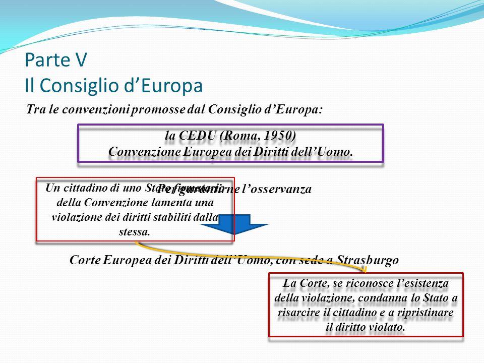 Parte V Il Consiglio d'Europa