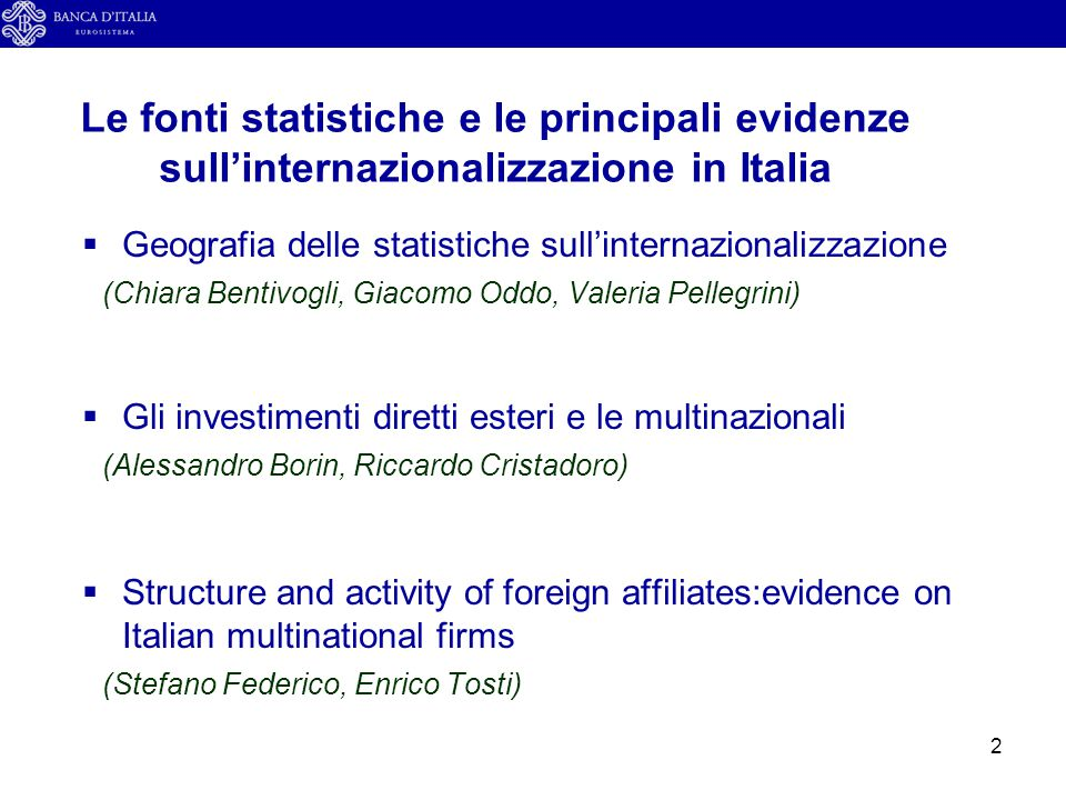 Le fonti statistiche e le principali evidenze sull'internazionalizzazione in Italia