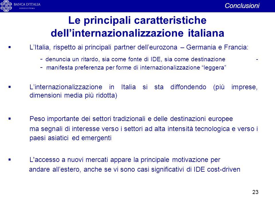 Le principali caratteristiche dell'internazionalizzazione italiana