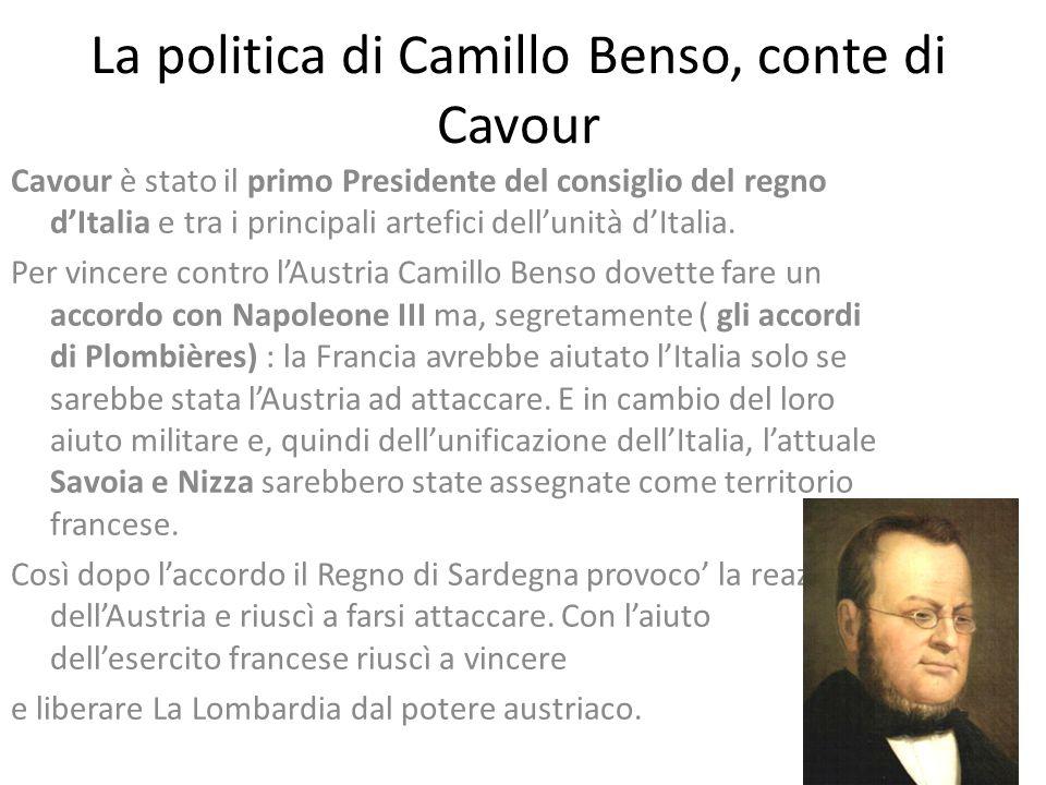La politica di Camillo Benso, conte di Cavour