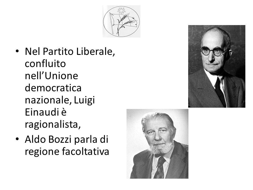 Nel Partito Liberale, confluito nell'Unione democratica nazionale, Luigi Einaudi è ragionalista,