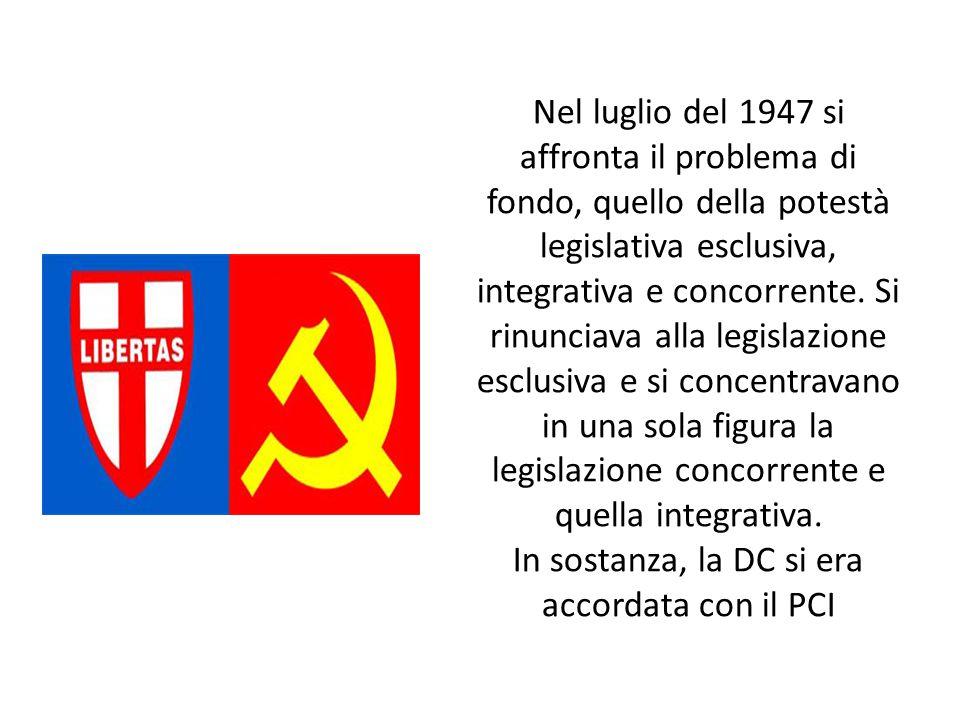Nel luglio del 1947 si affronta il problema di fondo, quello della potestà legislativa esclusiva, integrativa e concorrente.