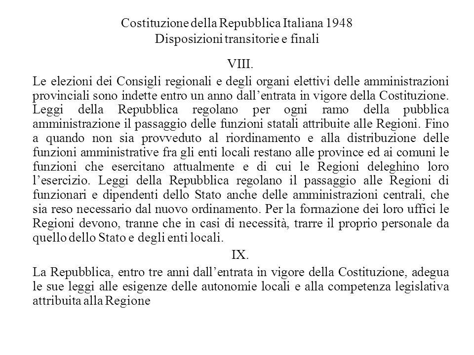 Costituzione della Repubblica Italiana 1948 Disposizioni transitorie e finali