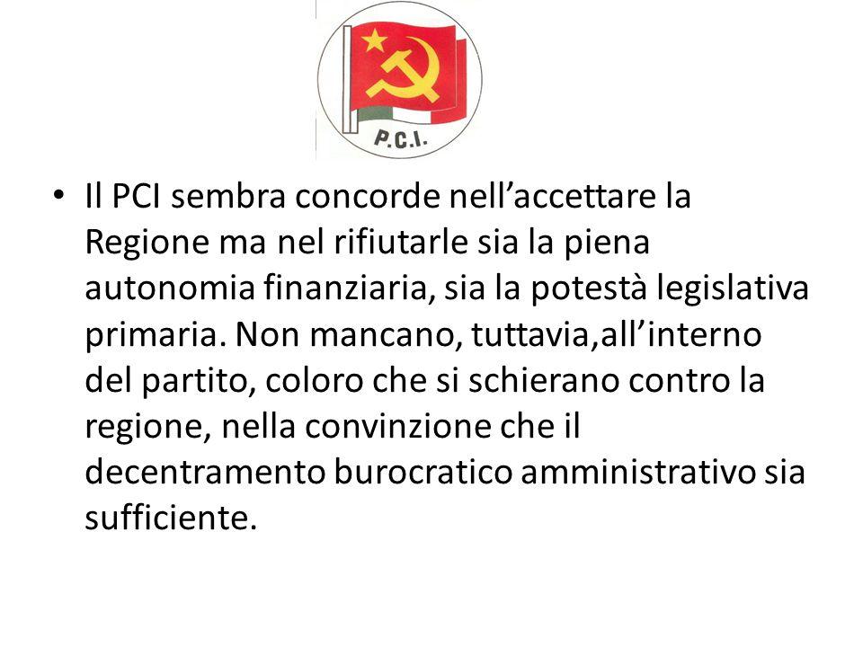 Il PCI sembra concorde nell'accettare la Regione ma nel rifiutarle sia la piena autonomia finanziaria, sia la potestà legislativa primaria.