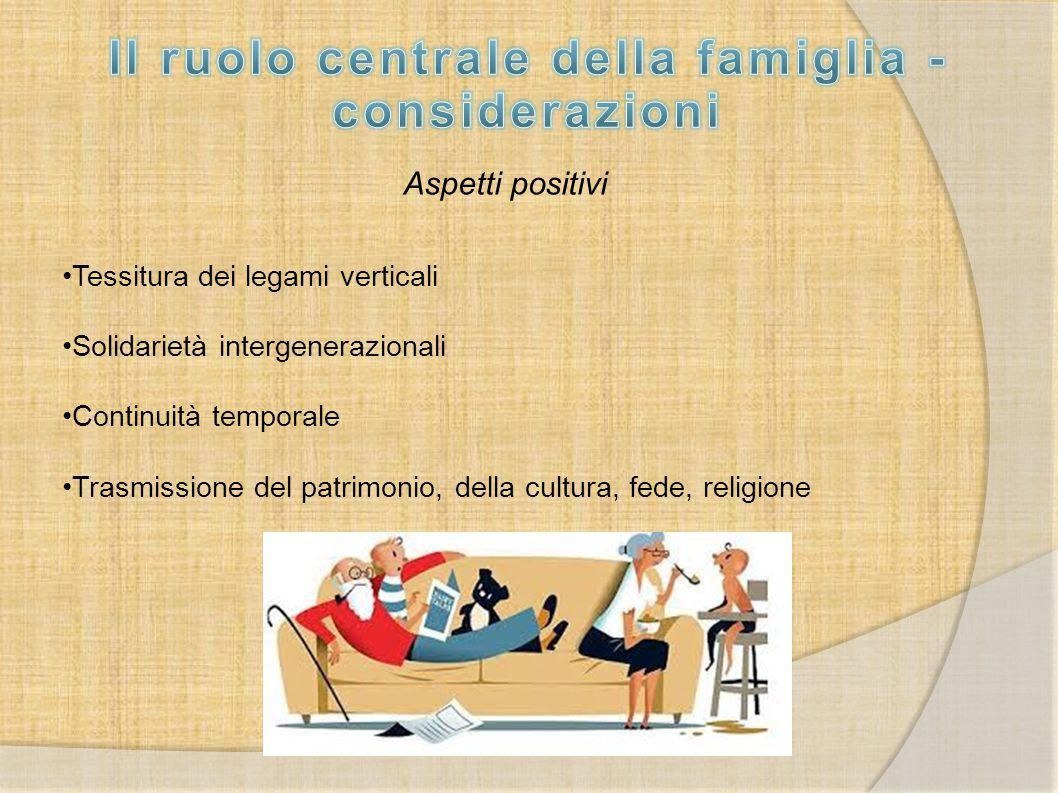 Il ruolo centrale della famiglia - considerazioni