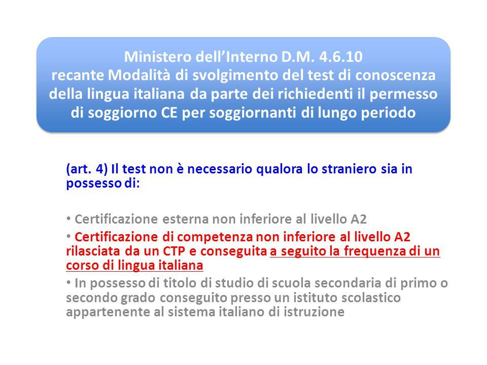 Ministero dell'Interno D. M. 4. 6