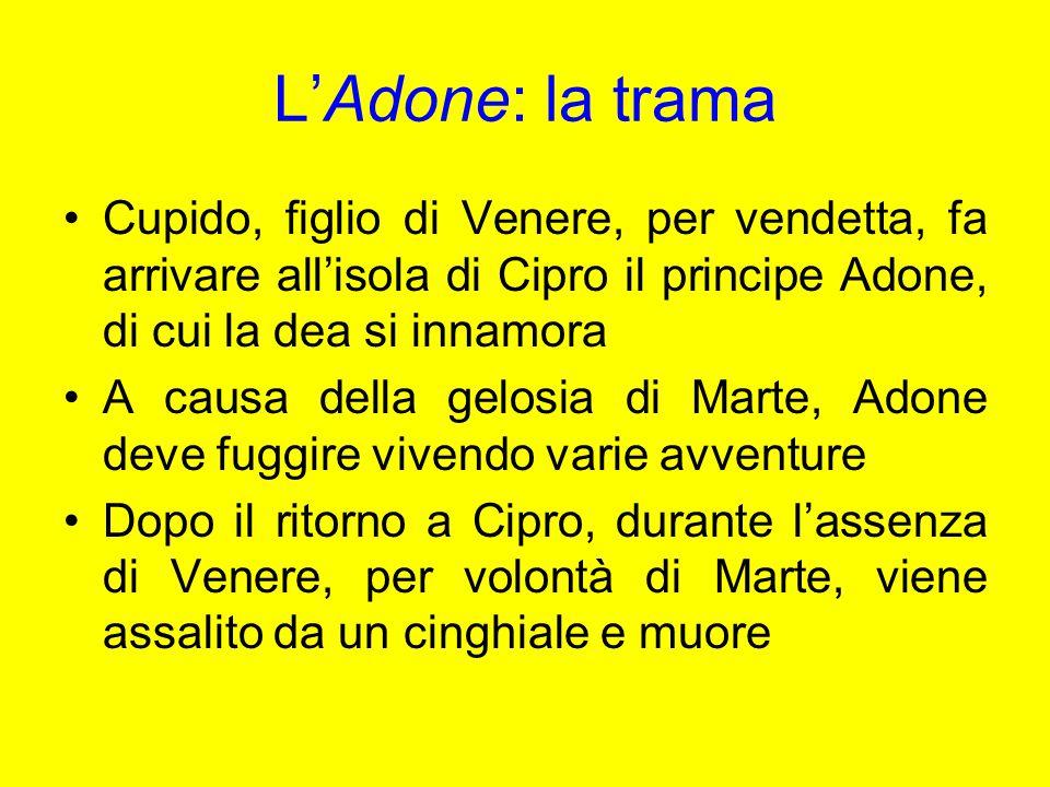 L'Adone: la trama Cupido, figlio di Venere, per vendetta, fa arrivare all'isola di Cipro il principe Adone, di cui la dea si innamora.