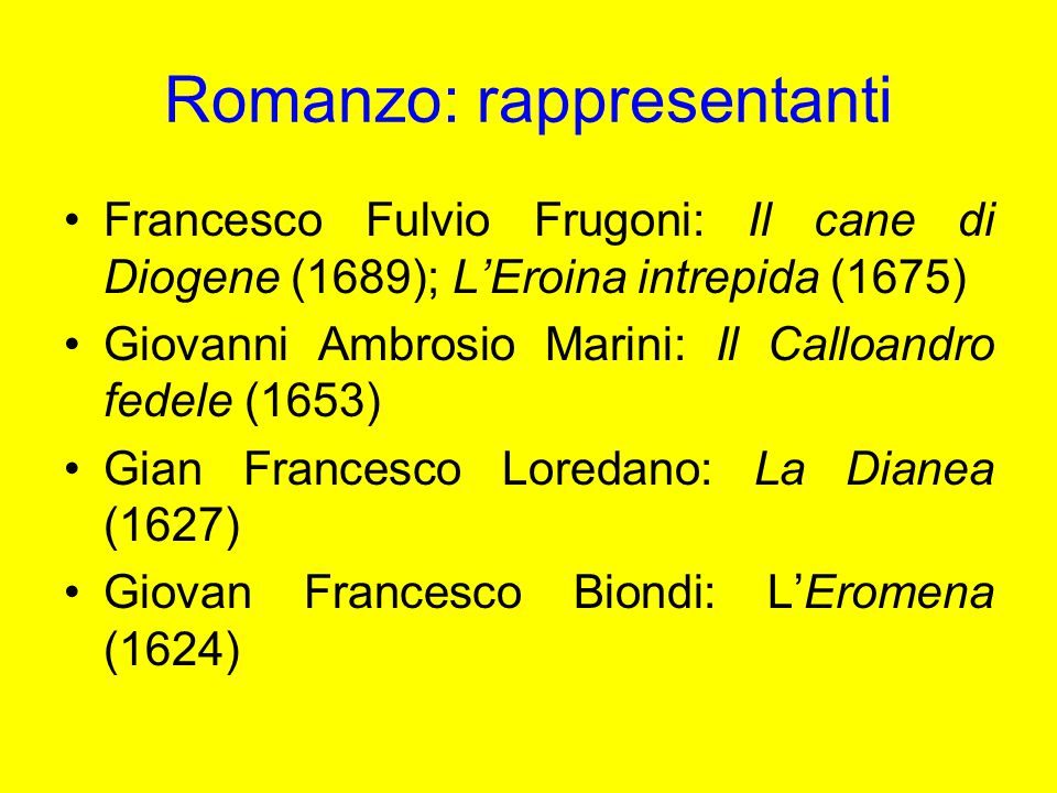 Romanzo: rappresentanti