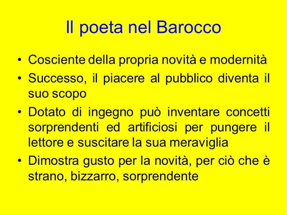 Il poeta nel Barocco Cosciente della propria novità e modernità