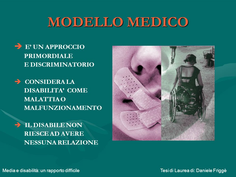 MODELLO MEDICO E' UN APPROCCIO PRIMORDIALE E DISCRIMINATORIO
