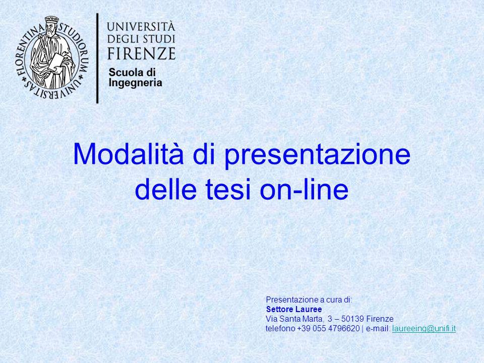 Modalità di presentazione delle tesi on-line
