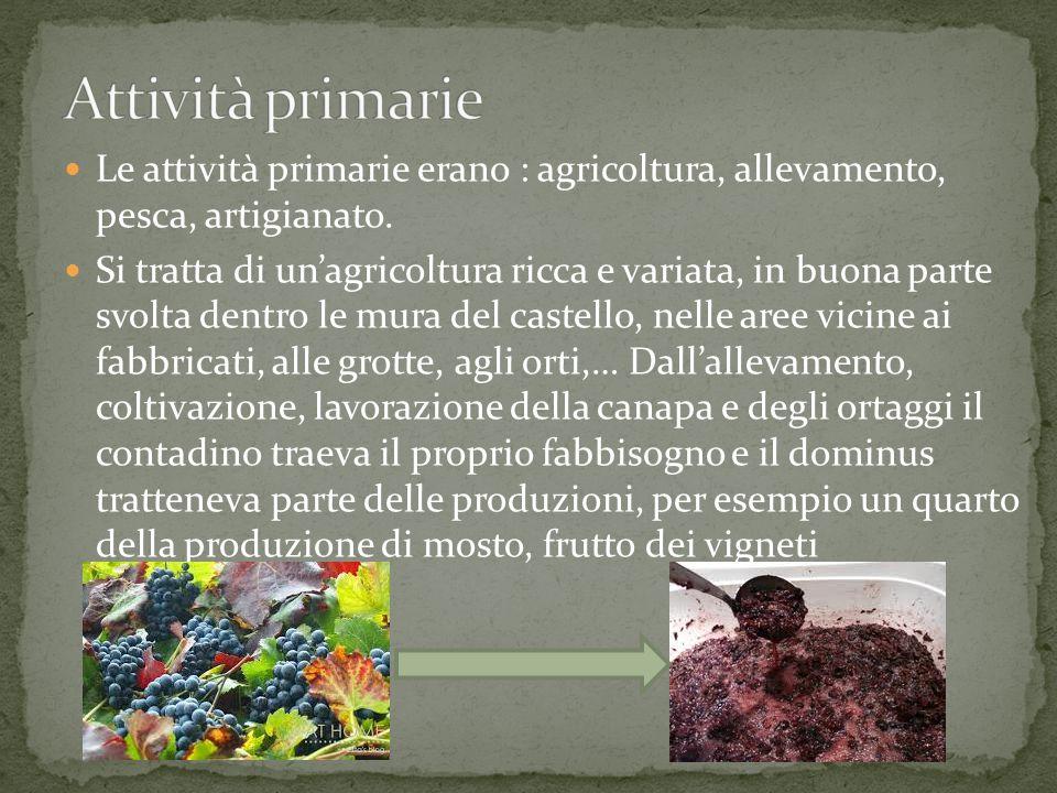 Attività primarie Le attività primarie erano : agricoltura, allevamento, pesca, artigianato.