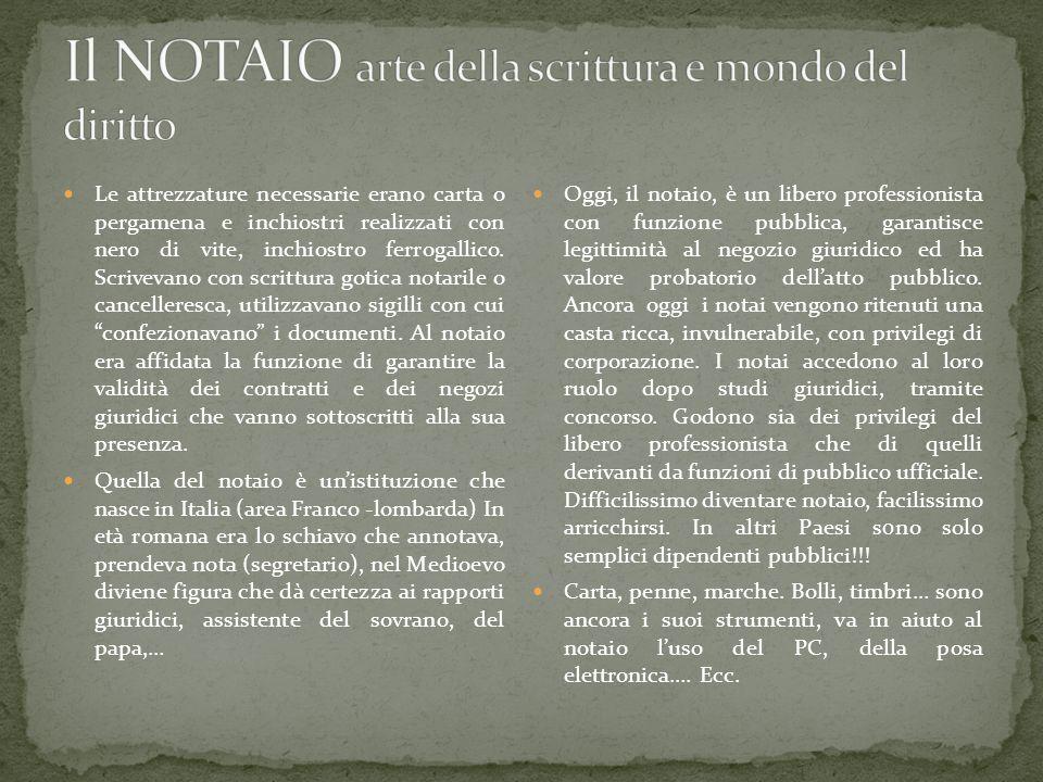 Il NOTAIO arte della scrittura e mondo del diritto