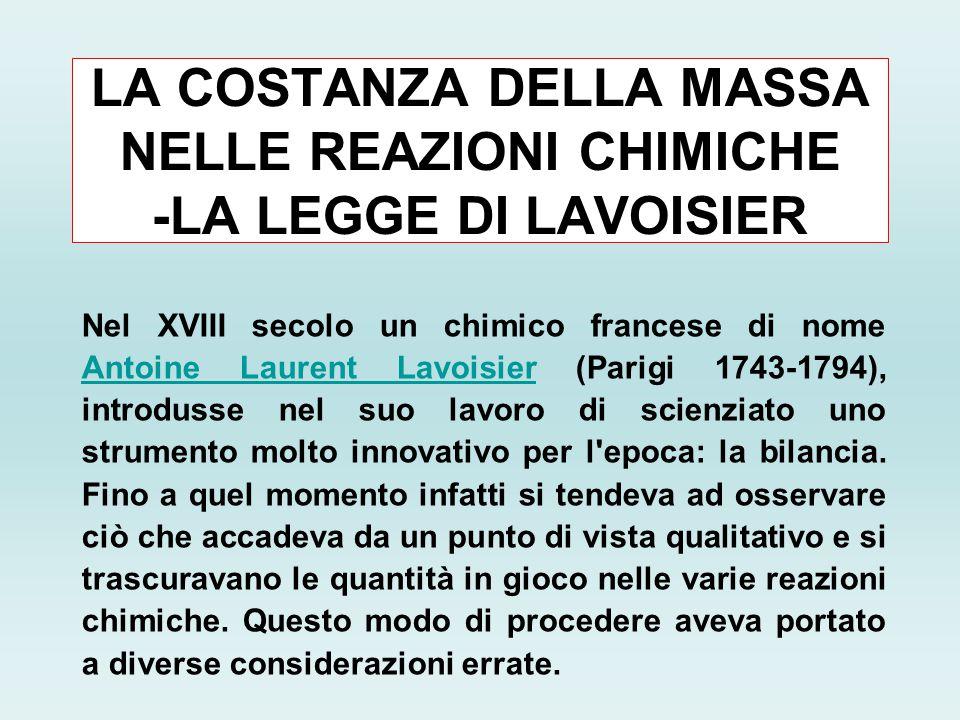 LA COSTANZA DELLA MASSA NELLE REAZIONI CHIMICHE -LA LEGGE DI LAVOISIER