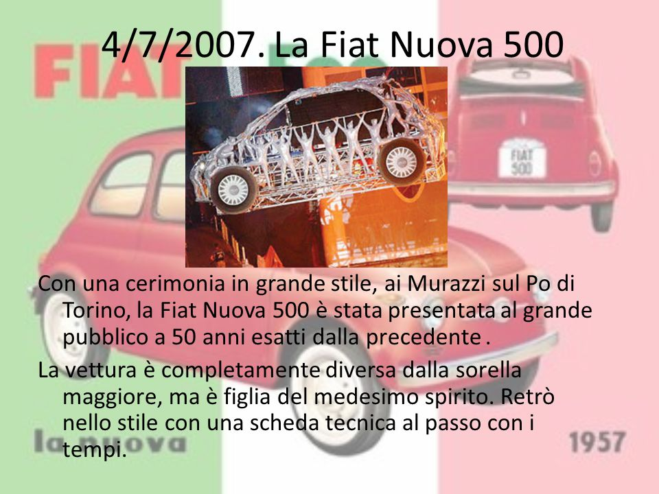 4/7/2007. La Fiat Nuova 500