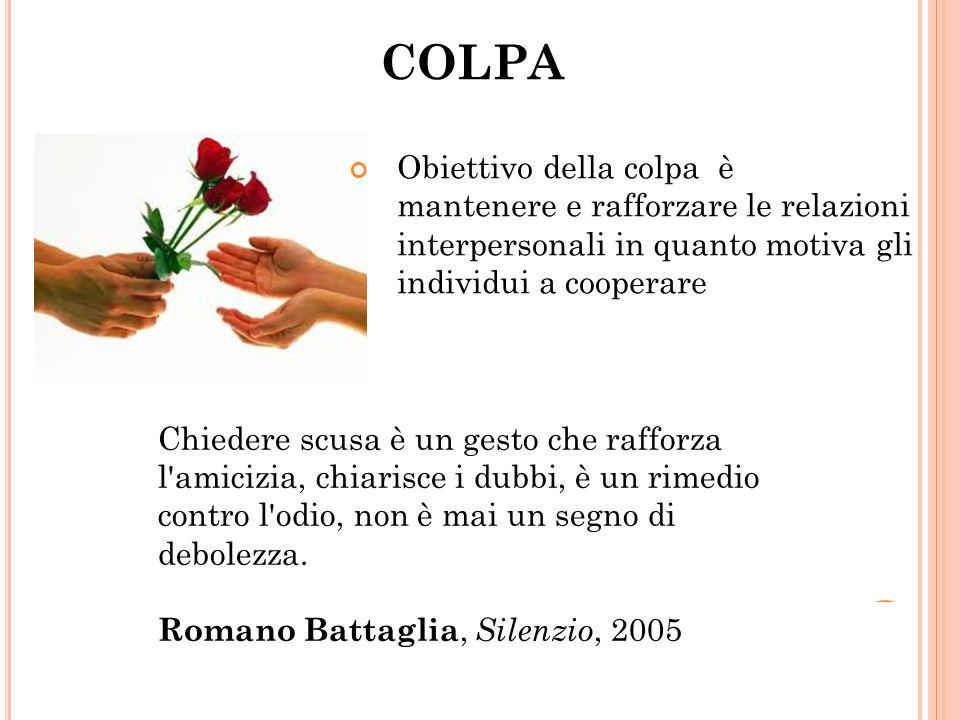 COLPA Obiettivo della colpa è mantenere e rafforzare le relazioni interpersonali in quanto motiva gli individui a cooperare.