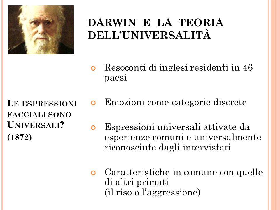 DARWIN E LA TEORIA DELL'UNIVERSALITà