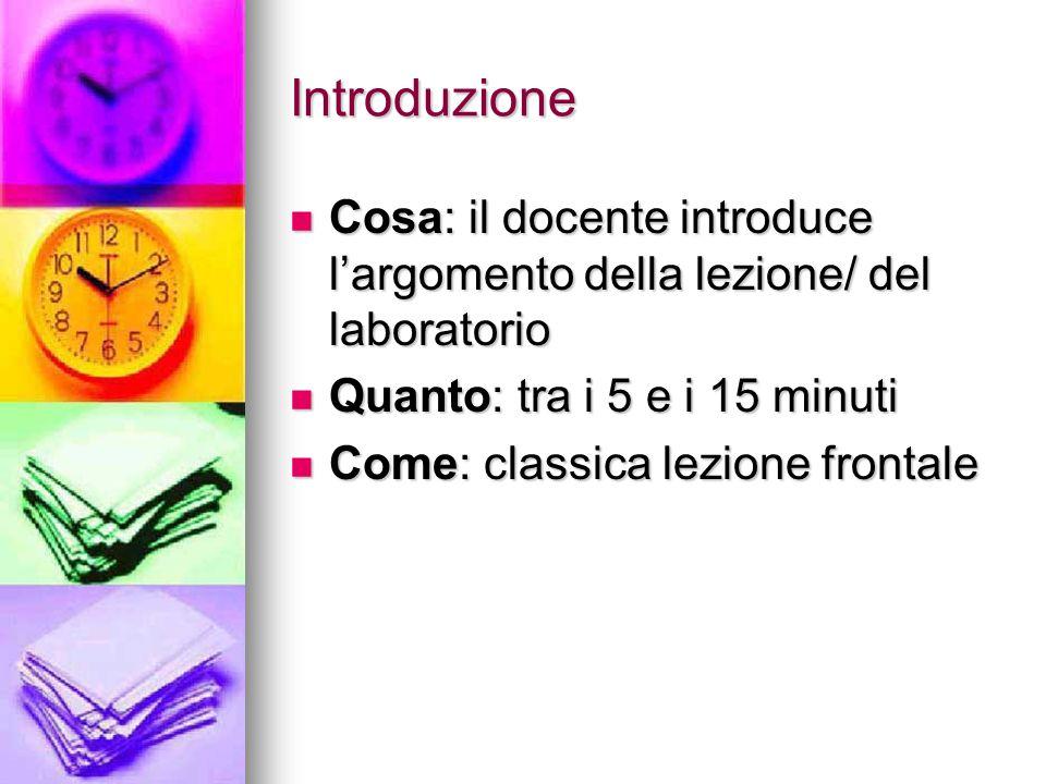 Introduzione Cosa: il docente introduce l'argomento della lezione/ del laboratorio. Quanto: tra i 5 e i 15 minuti.