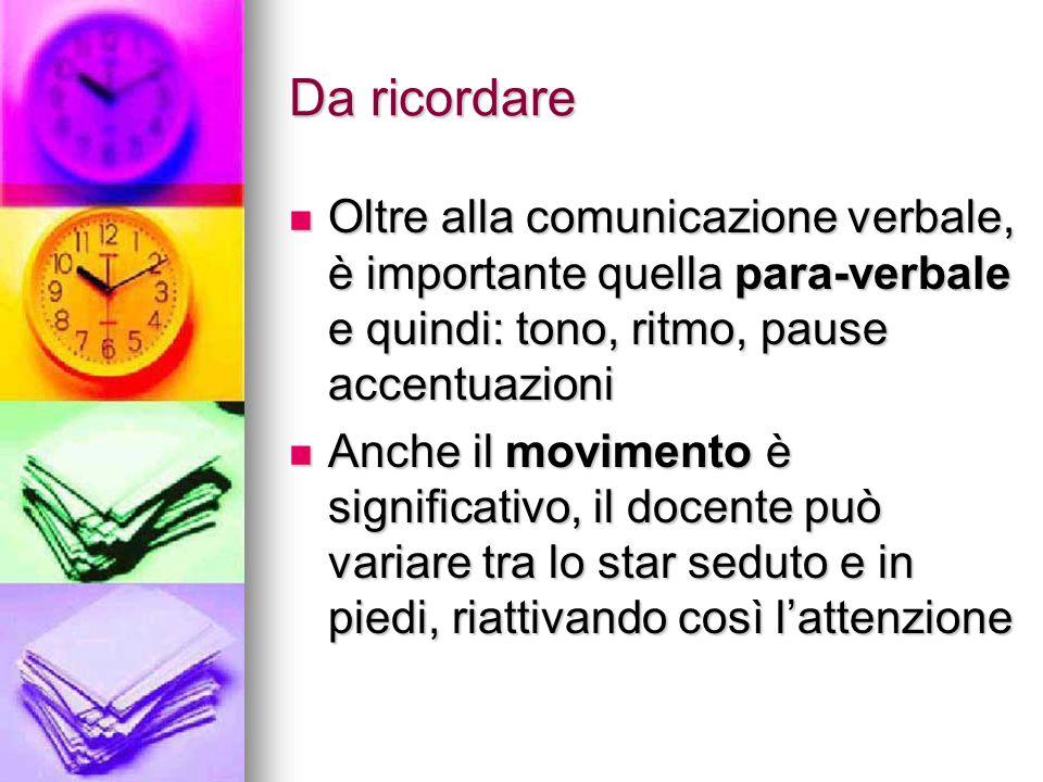 Da ricordare Oltre alla comunicazione verbale, è importante quella para-verbale e quindi: tono, ritmo, pause accentuazioni.