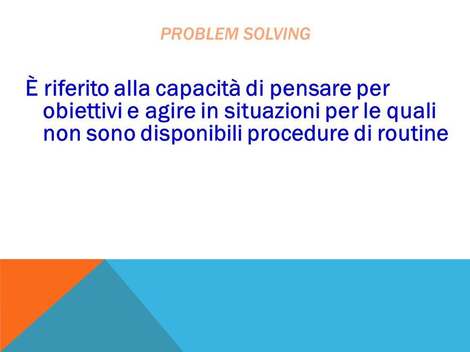 problem solving È riferito alla capacità di pensare per obiettivi e agire in situazioni per le quali non sono disponibili procedure di routine.