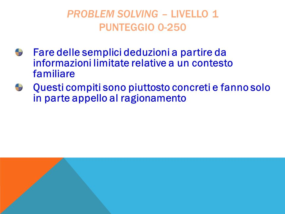 problem solving – livello 1 punteggio 0-250