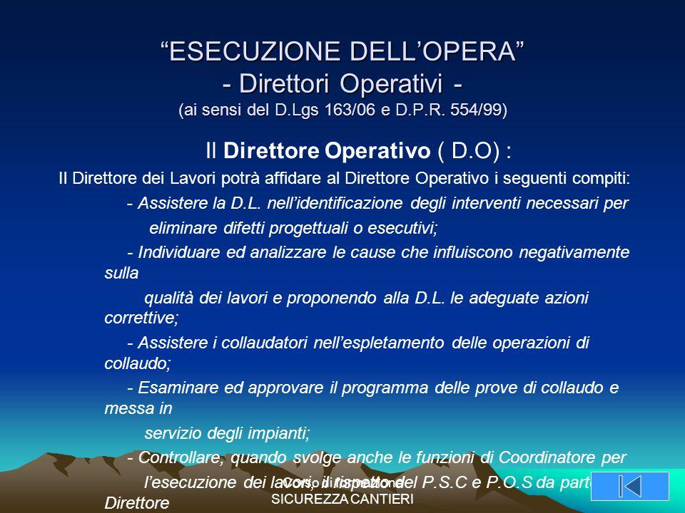 ESECUZIONE DELL'OPERA - Direttori Operativi - (ai sensi del D