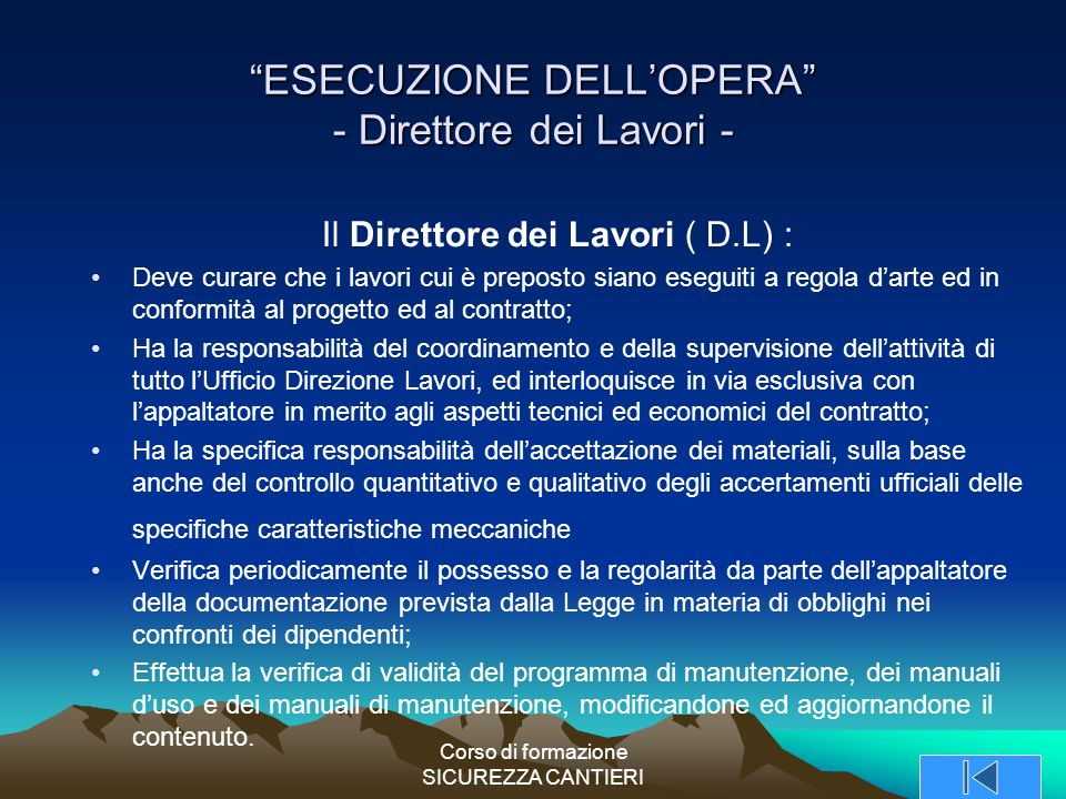 ESECUZIONE DELL'OPERA - Direttore dei Lavori -
