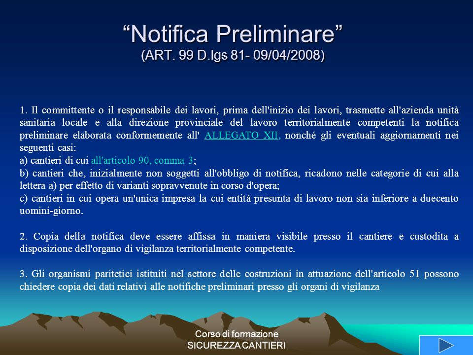 Notifica Preliminare (ART. 99 D.lgs 81- 09/04/2008)