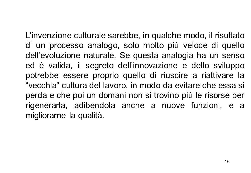 L'invenzione culturale sarebbe, in qualche modo, il risultato di un processo analogo, solo molto più veloce di quello dell'evoluzione naturale.