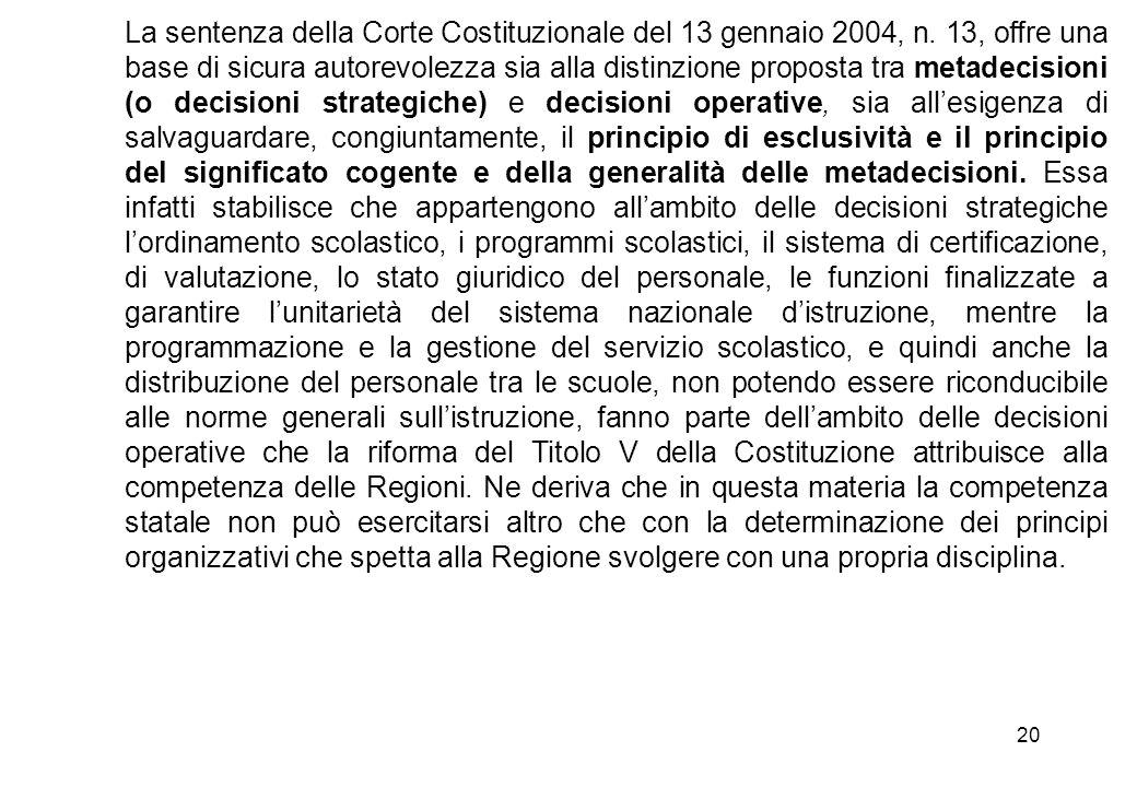 La sentenza della Corte Costituzionale del 13 gennaio 2004, n