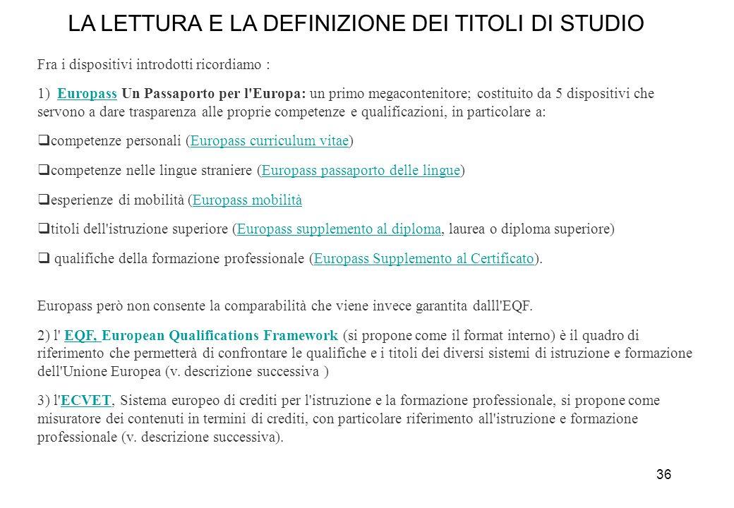 LA LETTURA E LA DEFINIZIONE DEI TITOLI DI STUDIO