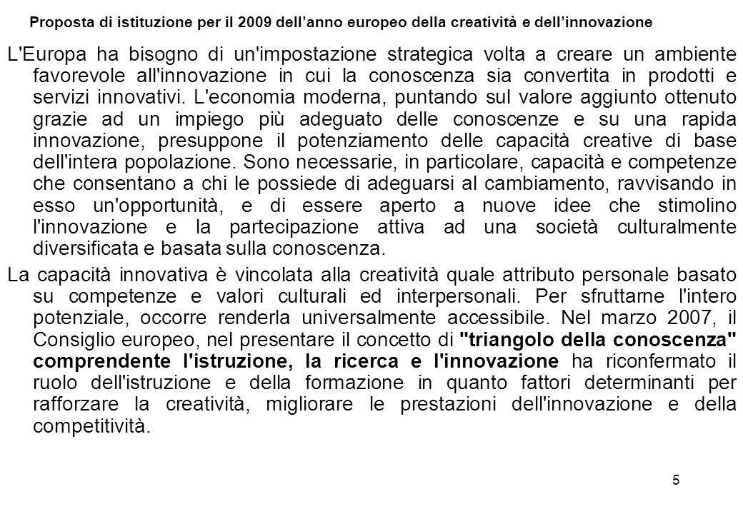 Proposta di istituzione per il 2009 dell'anno europeo della creatività e dell'innovazione