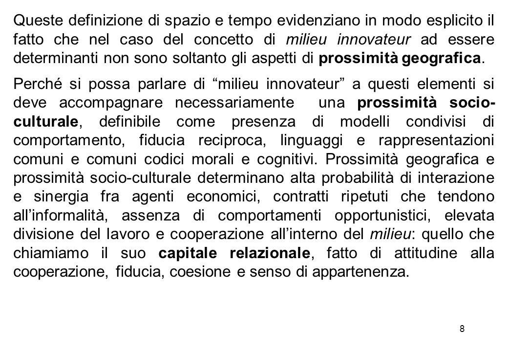 Queste definizione di spazio e tempo evidenziano in modo esplicito il fatto che nel caso del concetto di milieu innovateur ad essere determinanti non sono soltanto gli aspetti di prossimità geografica.