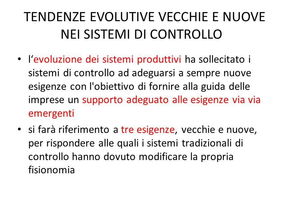 TENDENZE EVOLUTIVE VECCHIE E NUOVE NEI SISTEMI DI CONTROLLO