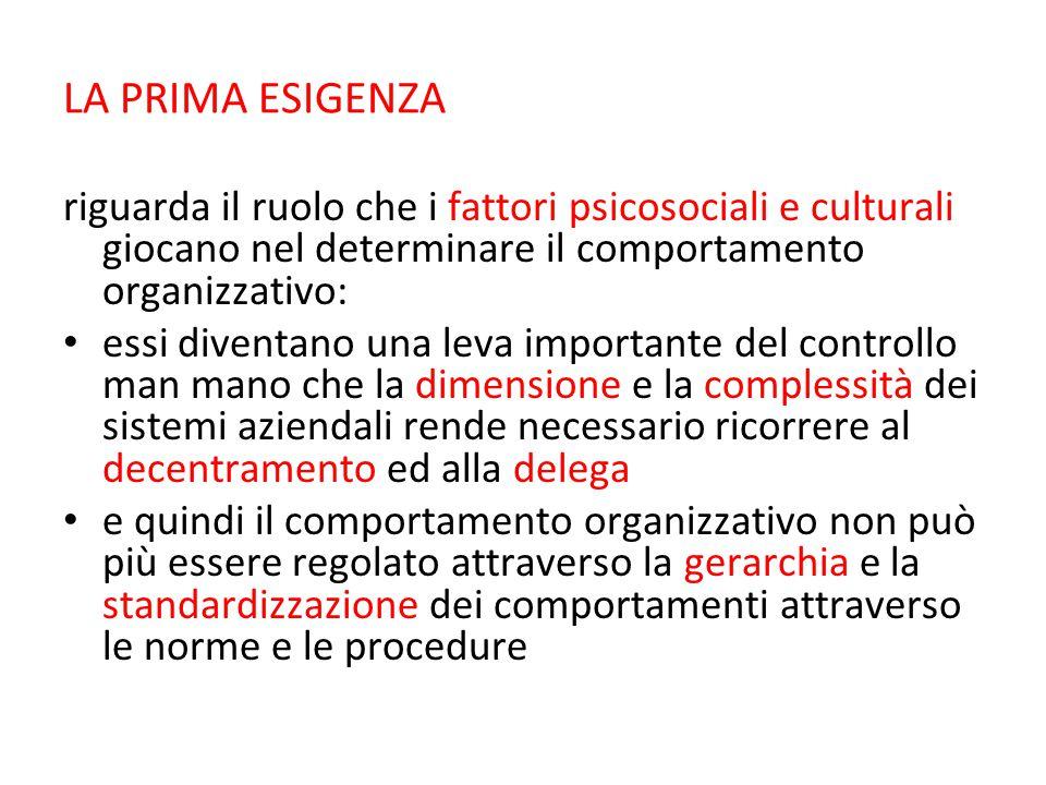LA PRIMA ESIGENZA riguarda il ruolo che i fattori psicosociali e culturali giocano nel determinare il comportamento organizzativo: