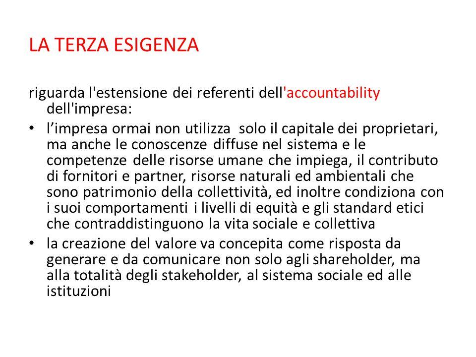 LA TERZA ESIGENZA riguarda l estensione dei referenti dell accountability dell impresa: