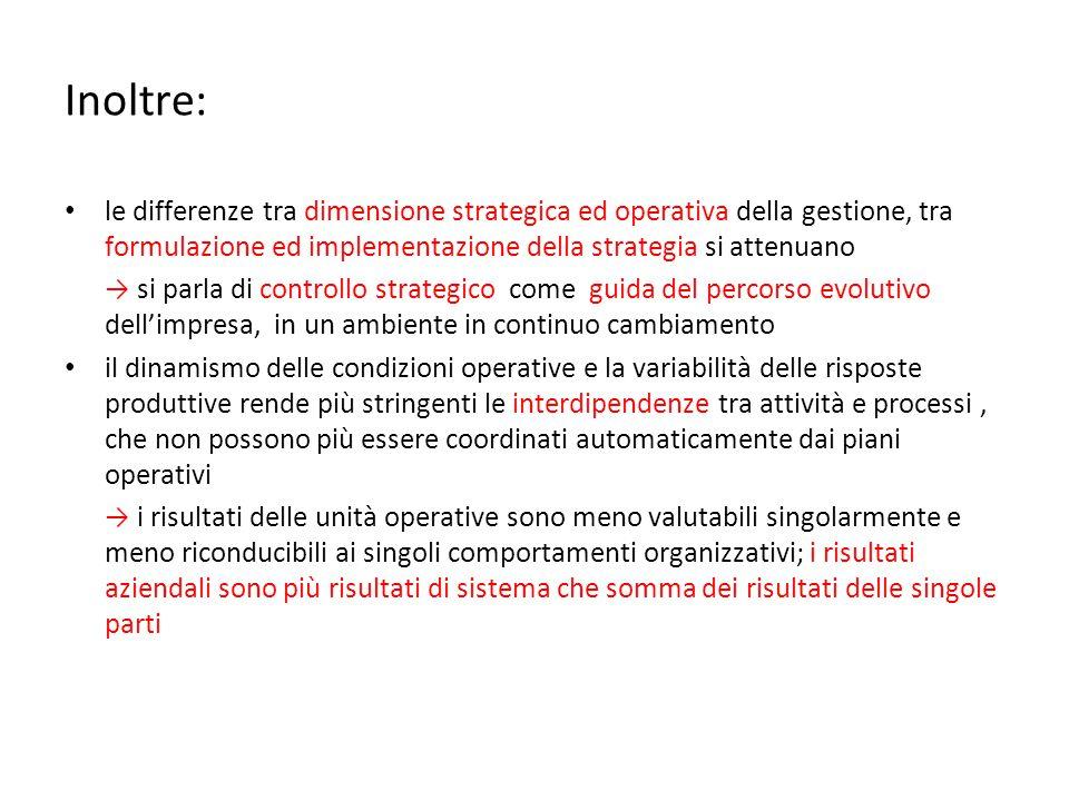 Inoltre: le differenze tra dimensione strategica ed operativa della gestione, tra formulazione ed implementazione della strategia si attenuano.