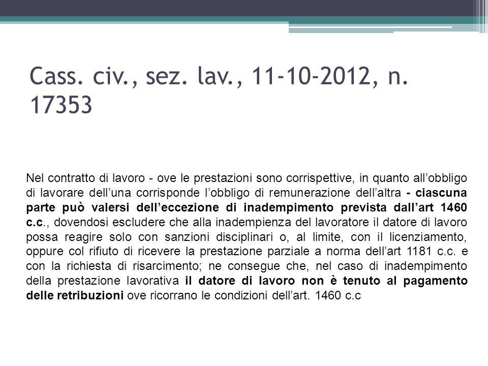 Cass. civ., sez. lav., 11-10-2012, n. 17353