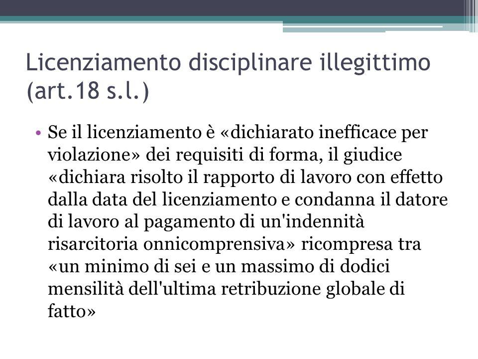 Licenziamento disciplinare illegittimo (art.18 s.l.)