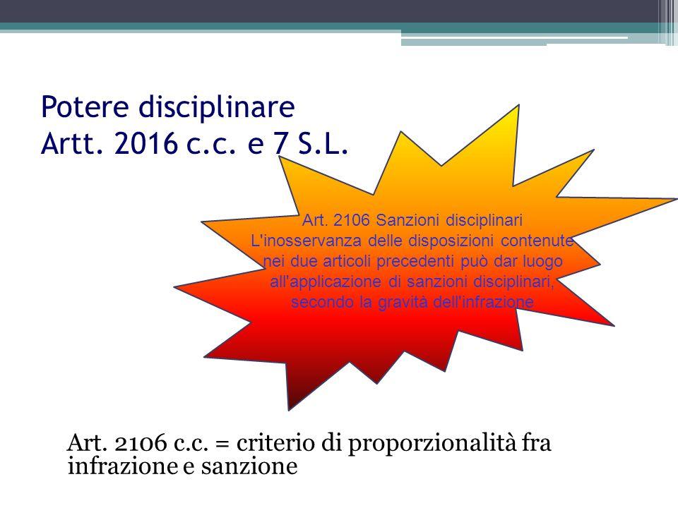 Potere disciplinare Artt. 2016 c.c. e 7 S.L.
