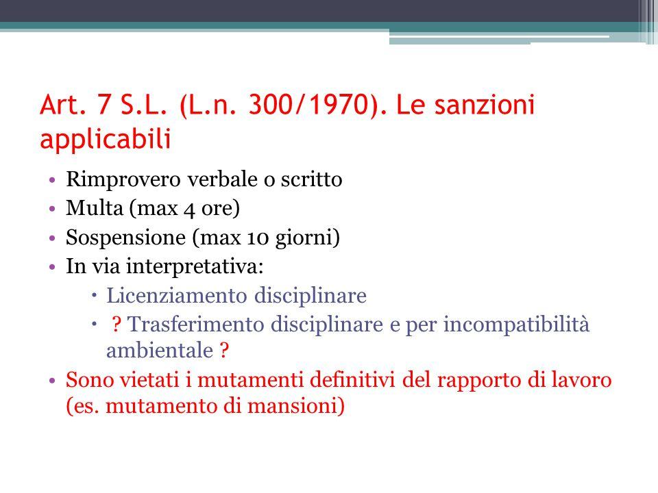 Art. 7 S.L. (L.n. 300/1970). Le sanzioni applicabili