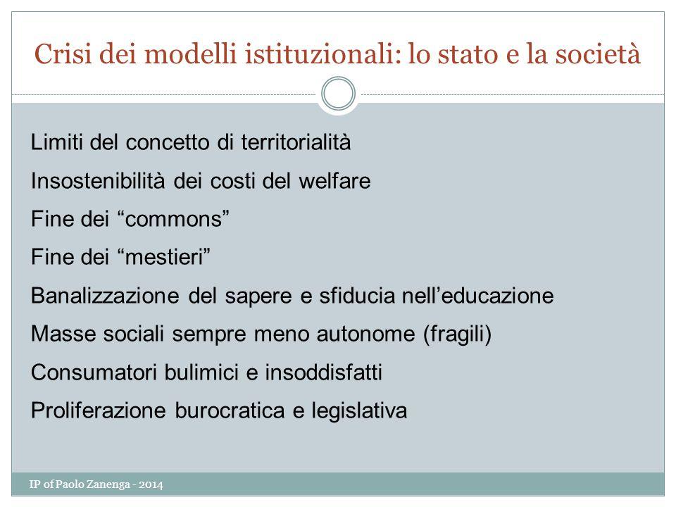 Crisi dei modelli istituzionali: lo stato e la società