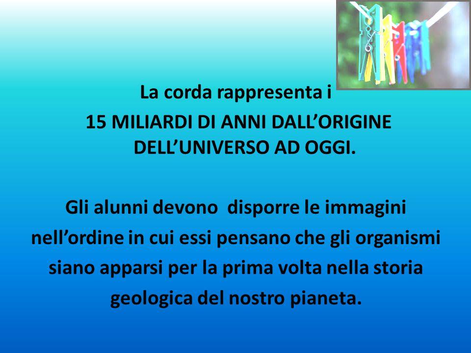 La corda rappresenta i 15 MILIARDI DI ANNI DALL'ORIGINE DELL'UNIVERSO AD OGGI.