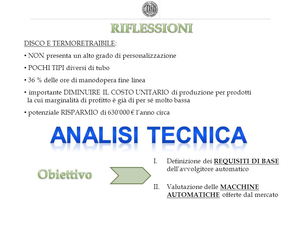 Analisi TECNICA RIFLESSIONI Obiettivo DISCO E TERMORETRAIBILE: