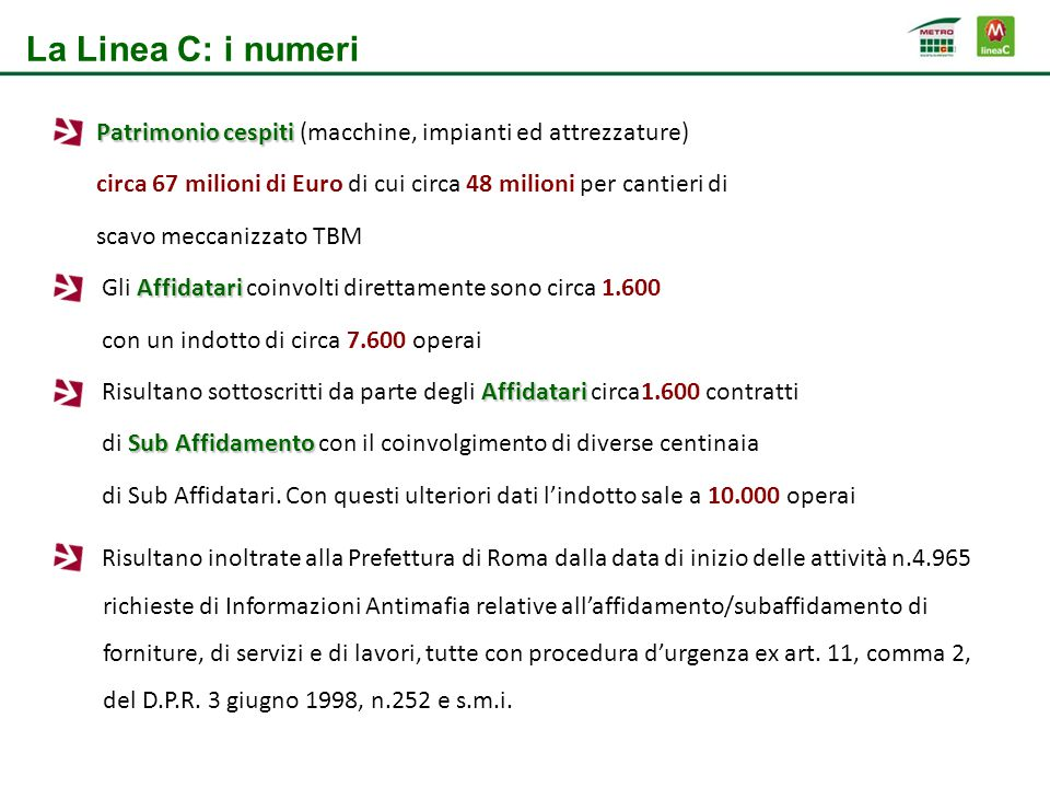 La Linea C: i numeri Patrimonio cespiti (macchine, impianti ed attrezzature) circa 67 milioni di Euro di cui circa 48 milioni per cantieri di.