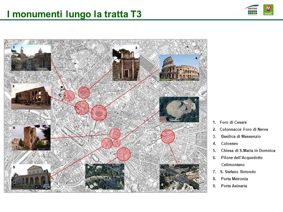 I monumenti lungo la tratta T3