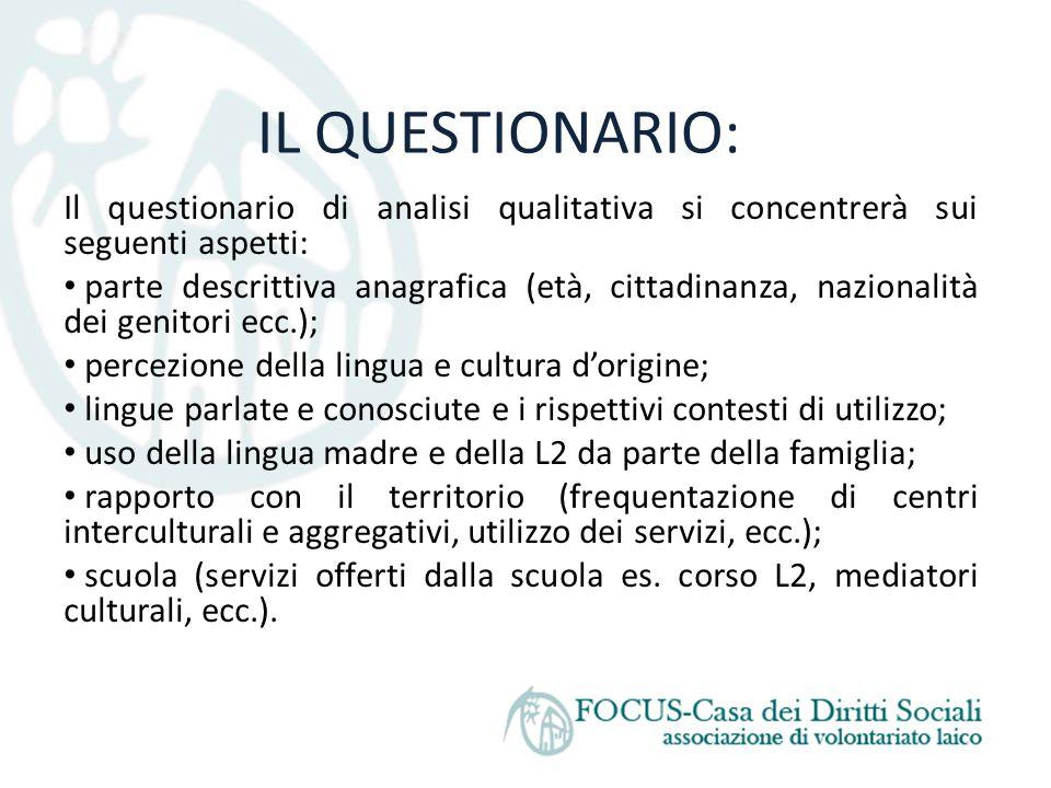 IL QUESTIONARIO: Il questionario di analisi qualitativa si concentrerà sui seguenti aspetti: